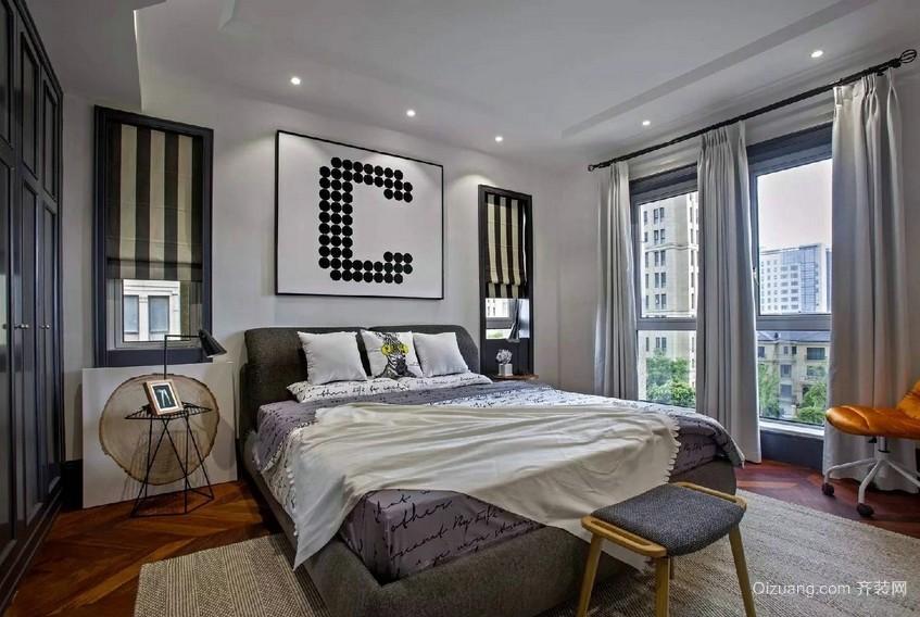 2016三居室中性冷色调卧室装修效果图