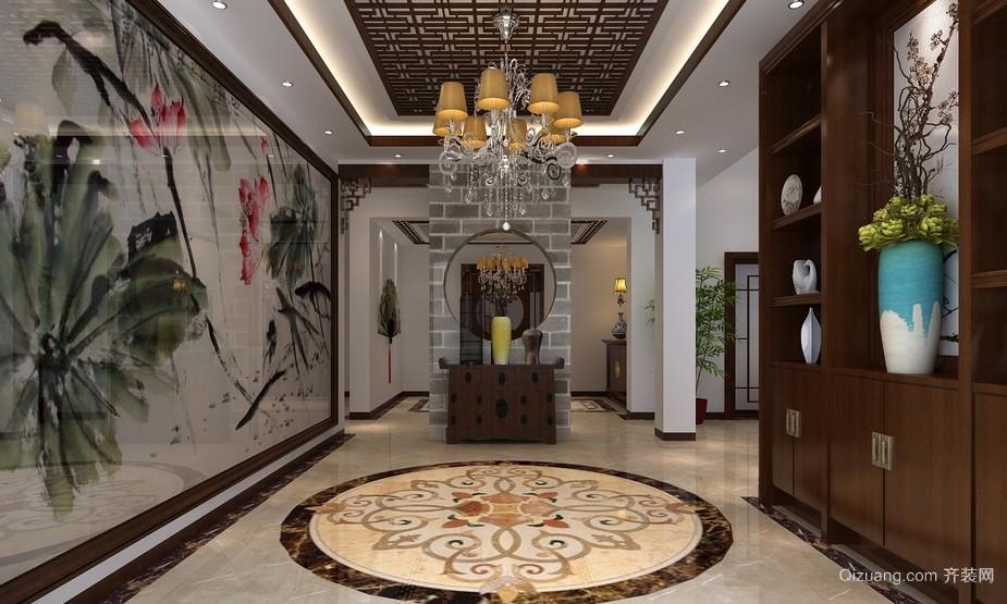2016自建别墅中式风格室内玄关装修效果图