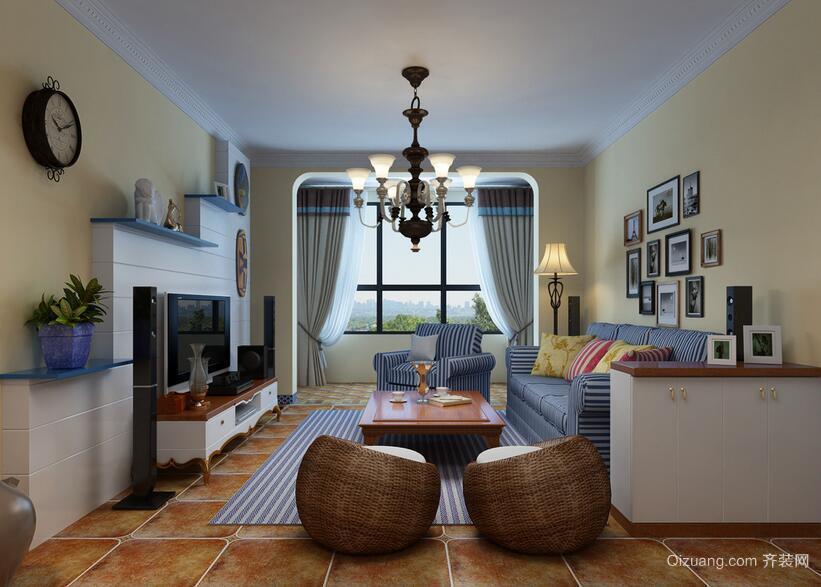 大户型地中海风格客厅装修效果图鉴赏