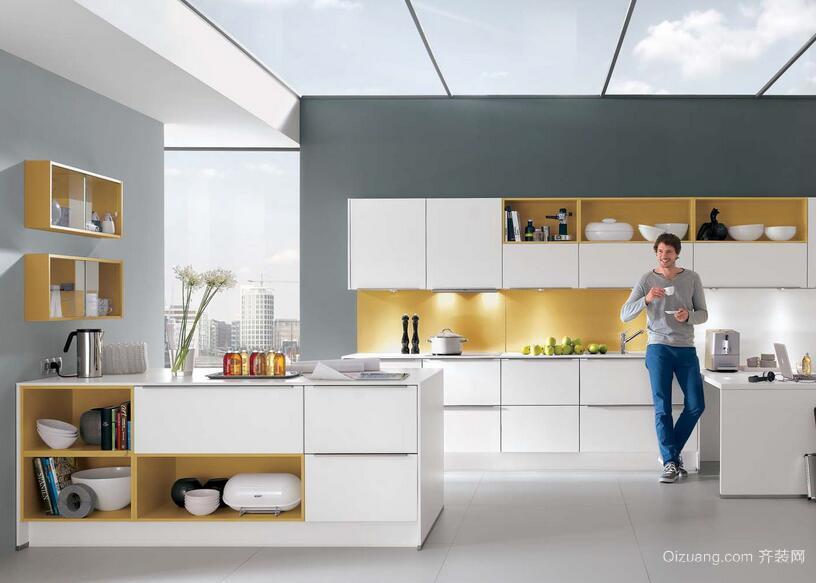 别墅简欧风格开放式厨房装修效果图实例
