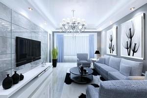 简欧风格别墅型客厅电视背景墙效果图