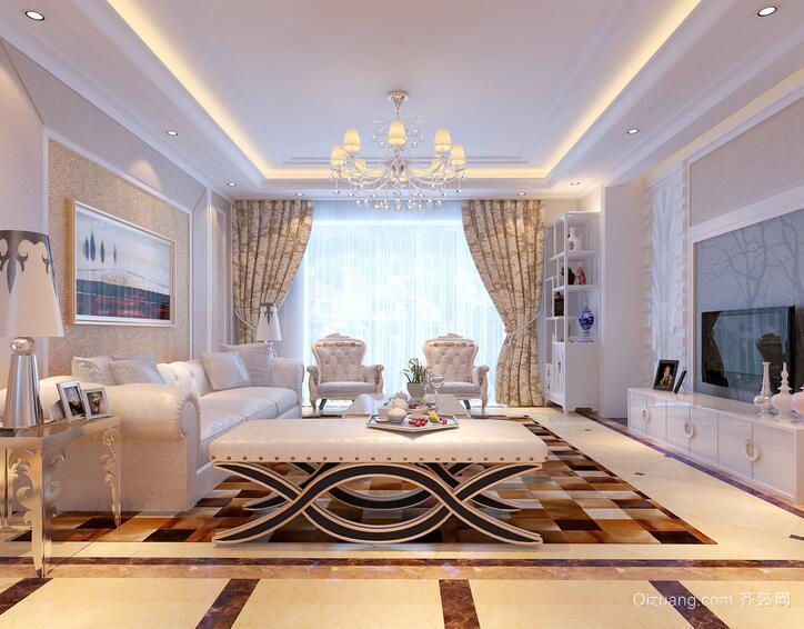经典的别墅型高贵欧式客厅装修效果图
