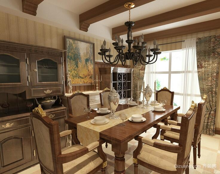 别墅美式装修风格样板房餐厅装修效果图