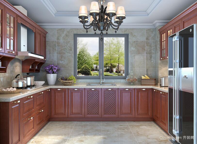 90平米欧式风格厨房橱柜装修效果图