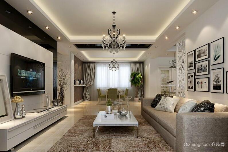 三居室欧式风格电视背景墙装修效果图实例