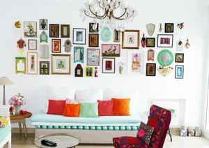 别墅型欧式风格客厅照片墙装修效果图