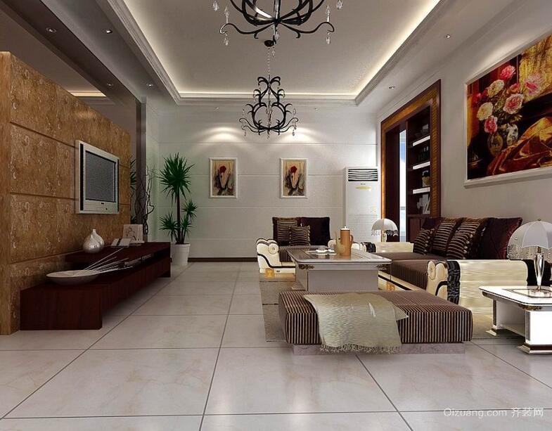 欧式风格客厅电视背景墙装修效果图实例