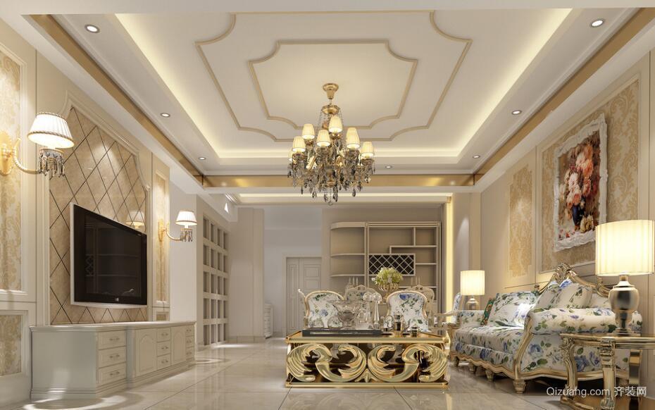 2016别墅型欧式客厅室内装修效果图鉴赏