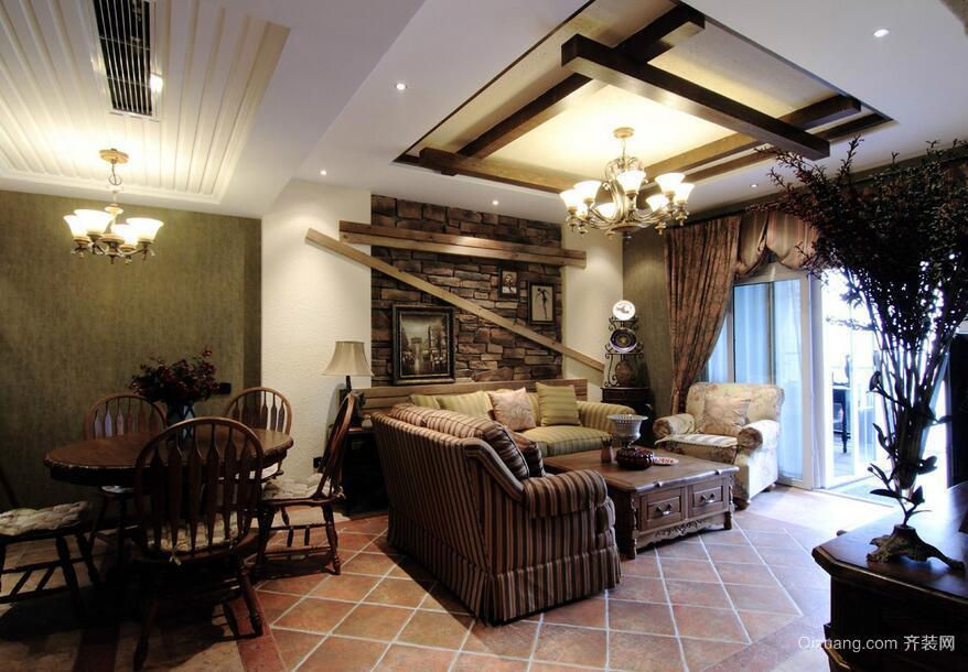别墅美式装修风格样板房客厅装修效果图鉴赏