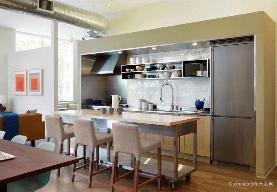 欧式风格大户型开放式厨房装修效果图