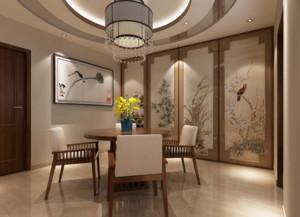 现代大户型中式风格餐厅背景墙装修效果图