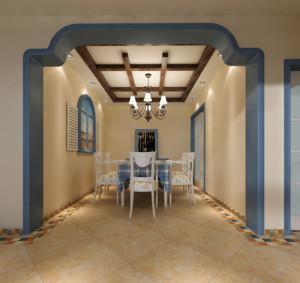 现代大户型地中海风格餐厅背景墙装修效果图