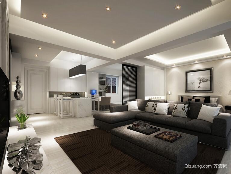 别墅北欧风格客厅电视背景墙室内装修效果图