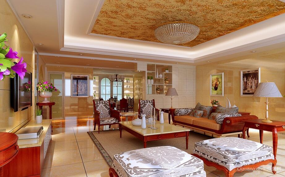 别墅型欧式风格客厅吊顶装修效果图鉴赏