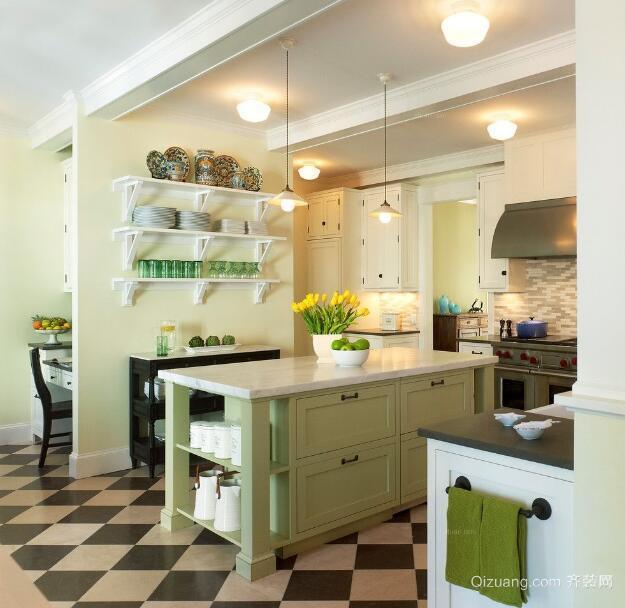 大户型美式风格装修样板房厨房装修效果图