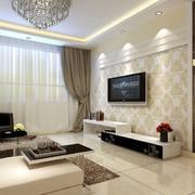 别墅型简欧风格电视背景墙图效果片
