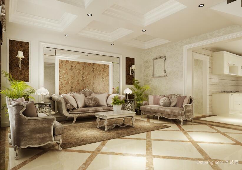 2016欧式风格室内沙发背景墙装修效果图