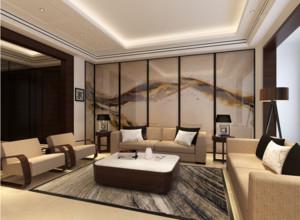 别墅型中式客厅背景墙装修效果图实例