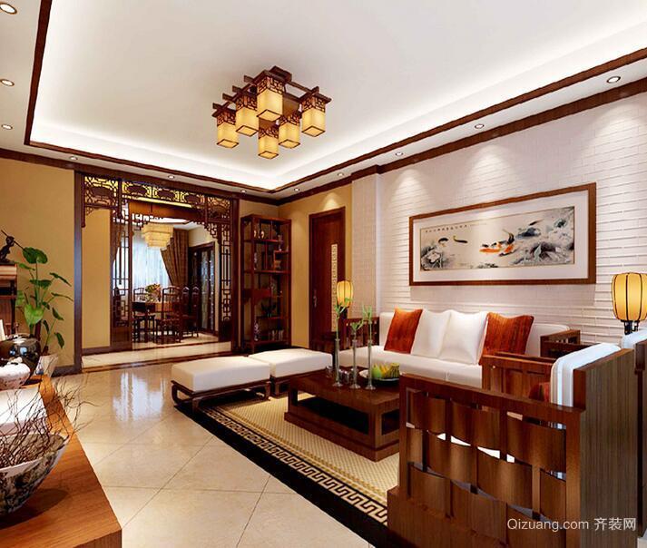 精致的大户型中式客厅吊顶装修效果图