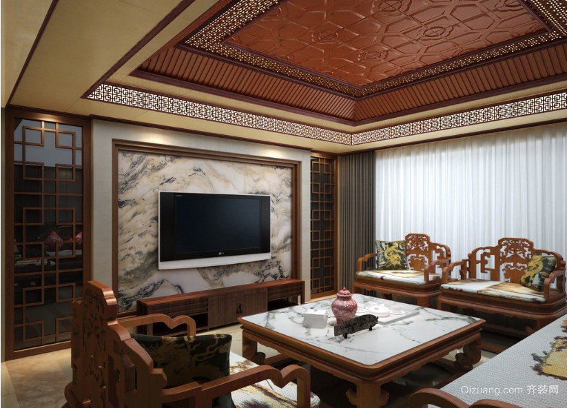 大户型中式风格客厅室内背景墙装修效果图