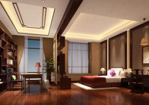 别墅型中式卧室背景墙装修效果图鉴赏
