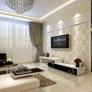 别墅型欧式风格室内电视背景墙装修效果图