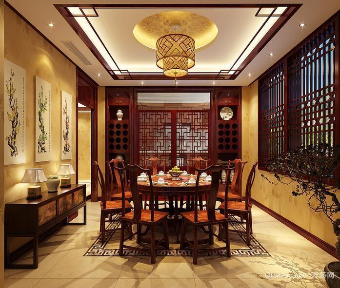 2016精致大方的大户型中式餐厅装修效果图