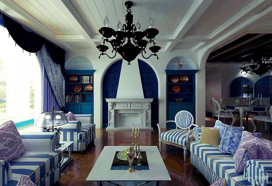 大户型地中海风格客厅背景墙装修效果图实例