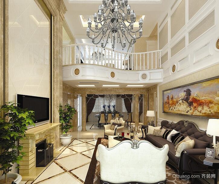 色调唯美高贵的别墅型欧式客厅装修效果图
