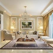 清新素雅别墅欧式室内沙发背景墙装修效果图