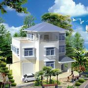 2016清新自然的农村别墅外观设计效果图