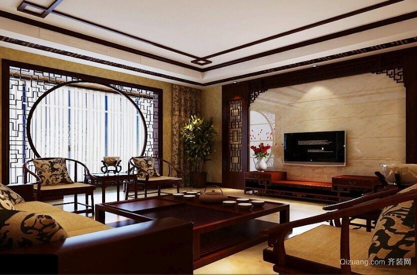 东方美感大户型中式电视背景墙装修效果图