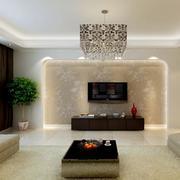 88平米大户型现代简约电视背景墙装修效果图