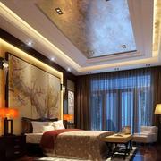 85平米大户型中式家装卧室背景墙装修效果图