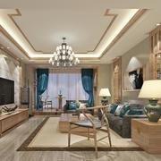 都市时尚100平米客厅地板砖装修效果图