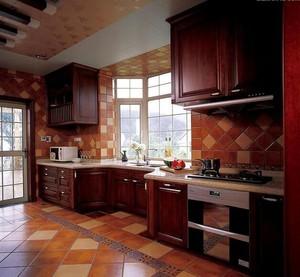 美式装修风格样板房别墅厨房吊顶装修效果图
