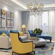 90平米简欧风格客厅背景墙装修效果图实例
