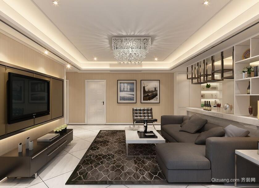 别墅型现代简约风格室内吊顶装修效果图