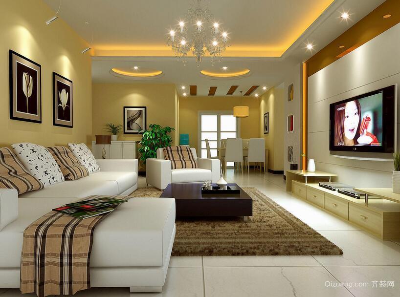 90平米大户型精致欧式客厅装修效果图欣赏