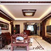 精美的现代大户型时尚中式客厅装修效果图