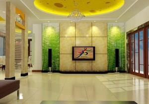 别墅型欧式大户型电视墙背景效果图实例