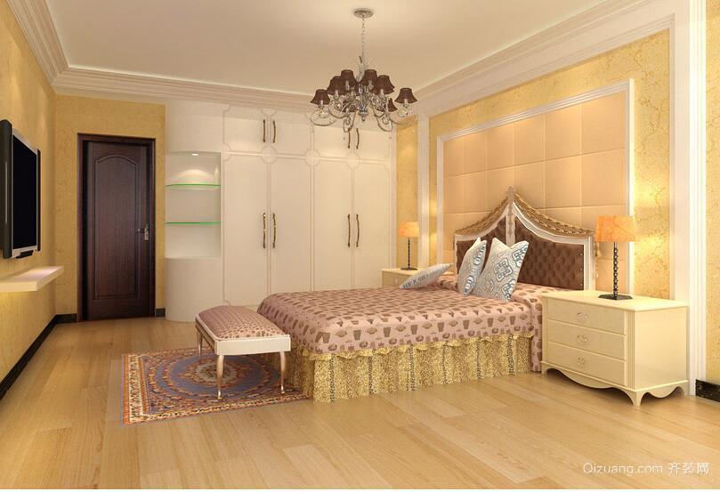 欧式暖色调小户型卧室装修效果图实例