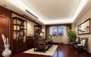 精致的别墅型中式书房背景墙装修效果图鉴赏