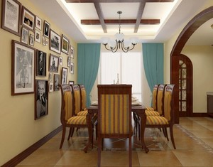 别墅美式装修风格样板房餐厅背景墙装修效果图