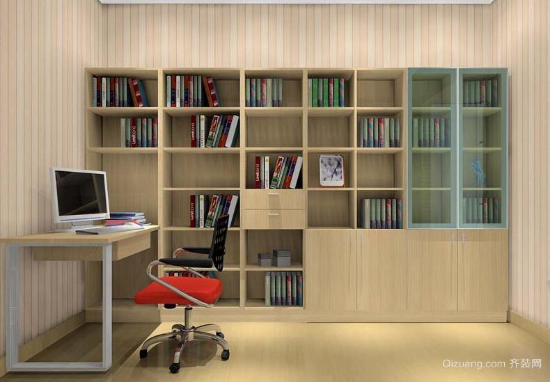 2016大户型现代简约书房书柜装修效果图