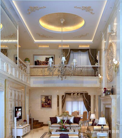 精致欧式复式楼客厅背景墙装修效果图