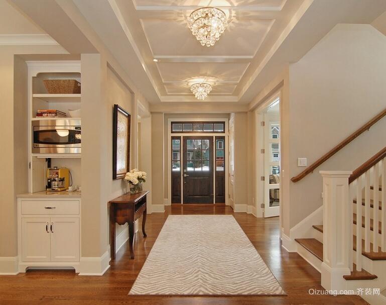 别墅型欧式高档的现代室内走廊吊顶装修效果图