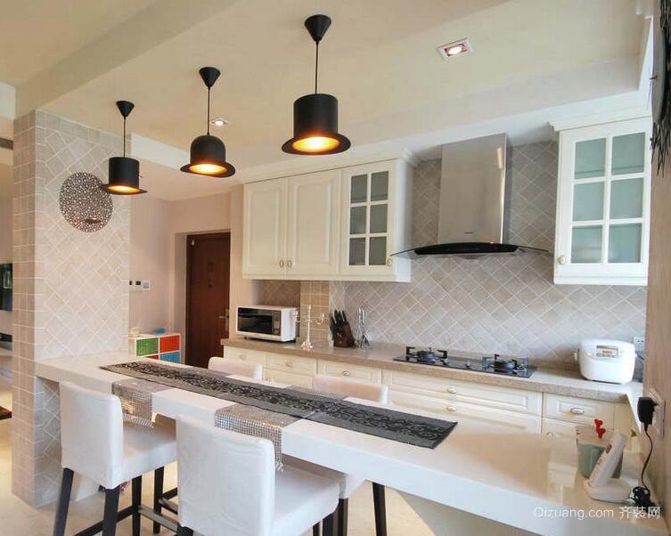 98平米大户型欧式开放式厨房吊顶装修效果图