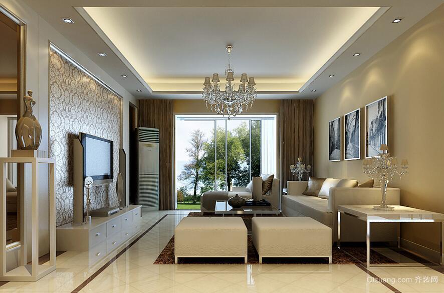 现代精致的大户型简欧风格客厅装修效果图