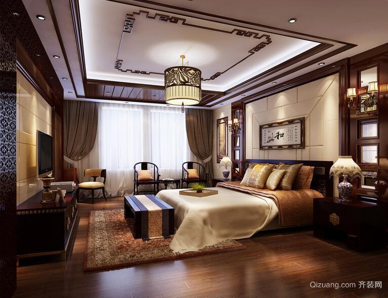 2016唯美舒适中式别墅卧室装修效果图